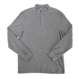 Club Room NEW Solid Gray Mens Size Large L Long Sleeve Henley Shirt