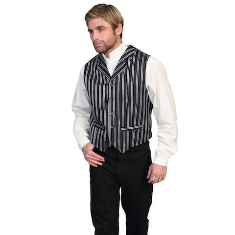 Scully Western Vest Mens Pinstripe Formal Button Dry Clean - Black