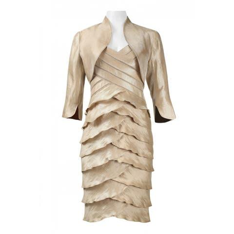 Adrianna Papell V-Neck Sleeveless Banded Bodice Dress, Champagne, 8
