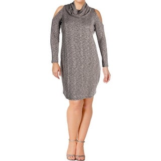 Love & Legend Womens Plus Sweaterdress Cold Shoulder Above Knee