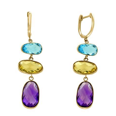 Effy Jewelry Multi-Gemstone Earrings in 14K Yellow Gold, 13 TWC - Multi Colored