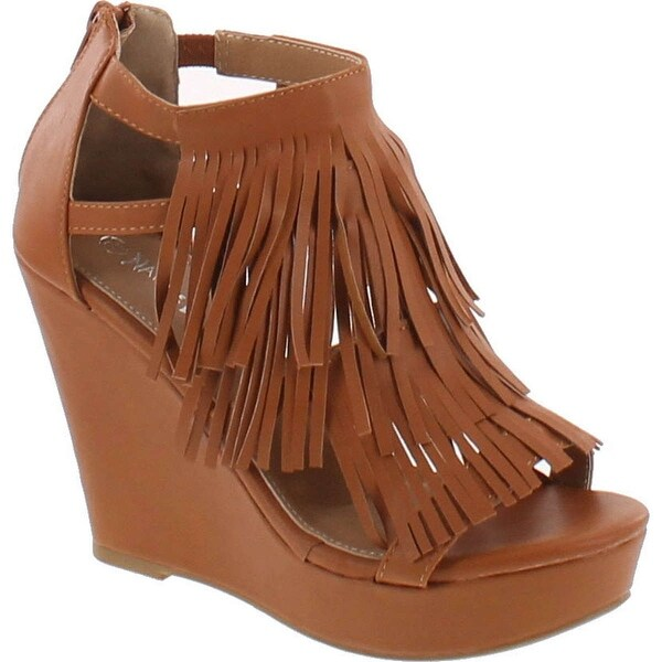 Static Footwear Pati-05 Women's Chic Fringe Cut Out Back Zipper Slip On High Wedge Sandals