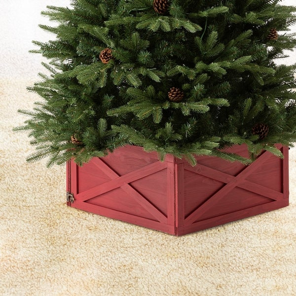 Glitzhome Handcrafted Wooden Christmas Tree Collar. Opens flyout.