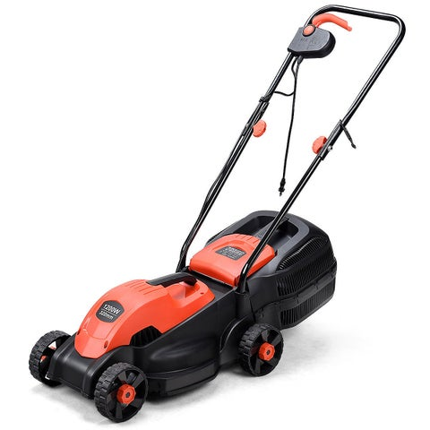 Costway 12 Amp 13-Inch Electric Push Lawn Corded Mower With Grass Bag Red