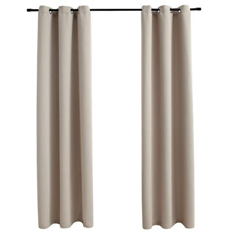 """vidaXL Blackout Curtains with Rings 2 pcs Beige 37""""x63"""" Fabric"""