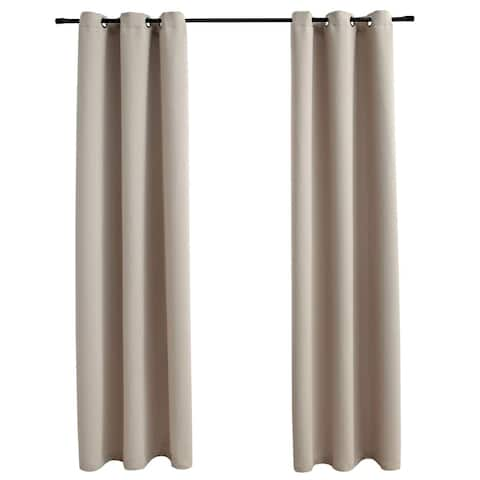 """vidaXL Blackout Curtains with Rings 2 pcs Beige 37""""x95"""" Fabric"""
