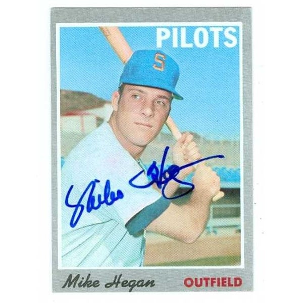 shop mike hegan autographed baseball card seattle pilots 1970