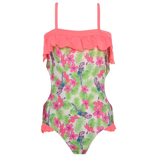 f198fc2a147a4 Shop Jantzen Girls Green Pink Floral Print Ruffle One Piece Swimsuit - Free  Shipping On Orders Over $45 - Overstock - 26458359