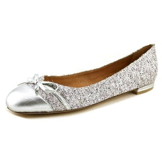 Nina Marybeth Women Round Toe Canvas Silver Flats