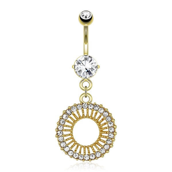 Circle With Gem Paved Edge Dangle gold-plated Navel Belly Button Ring (Sold Ind.)