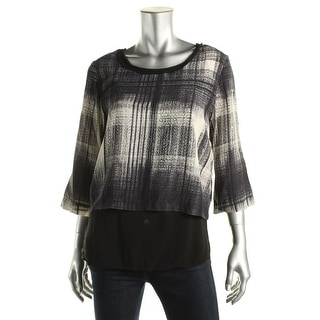 Pure DKNY Womens Petites Blouse Printed Layered - M