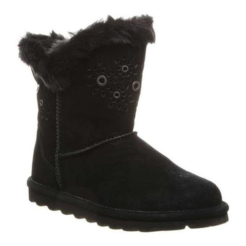 Bearpaw Women's Andrea Mid Calf Boot Black II Cow Suede