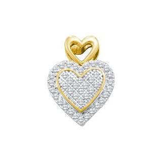 Heart Pendant Halo 10k Two-Tone Yellow And White Gold with Diamonds 1/6 Ctw By MidwestJewellery