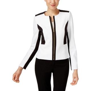 Calvin Klein Womens Jacket Colorblock Textured