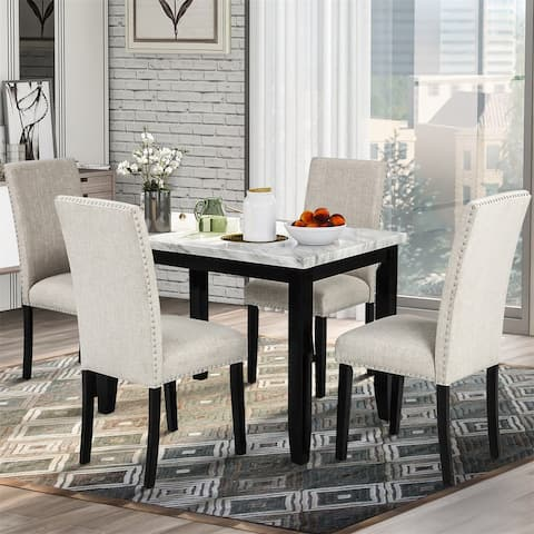 Merax 5-Piece Marble Veneer Dining Set Table with 4 Thicken Cushion Dining Chairs