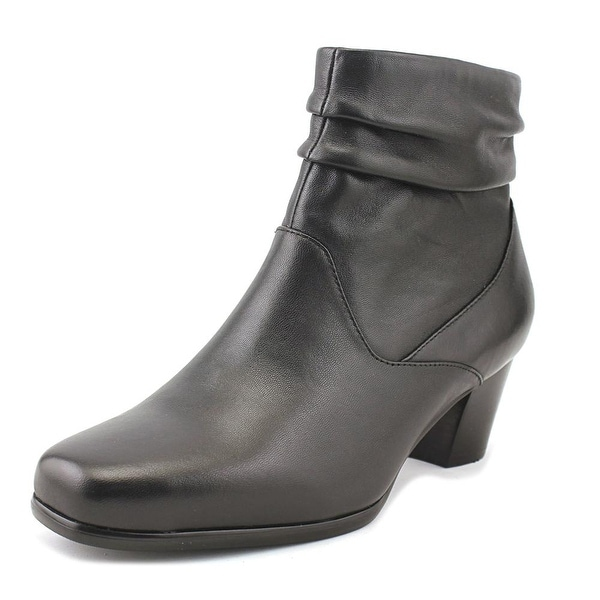 David Tate Shadow Women Square Toe Leather Black Ankle Boot
