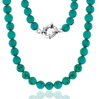 Bling Jewelry .925 Sterling Silver 10mm Reconstituted Turquoise Bead Long Necklace 36 Inches - Blue