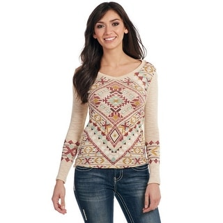 Cowgirl Up Western Sweater Womens Navaho Print Knit L/S CG61007