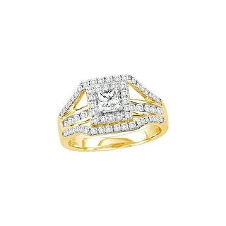 1 Ctw Diamond 3/8Ct Center Princess Bridal Engagement Ring 14K Yellow-Gold