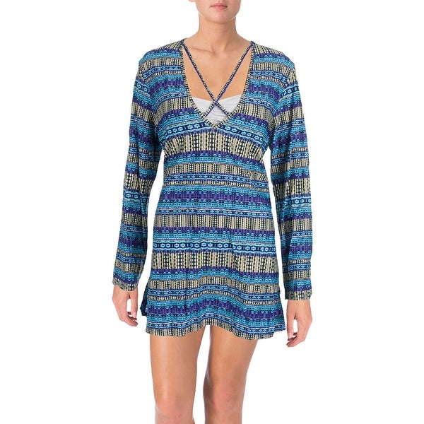 d596df8232a2a Shop La Blanca Womens Marrakesh Printed Long Sleeves Dress Swim Cover-Up -  Free Shipping On Orders Over $45 - Overstock - 20683966