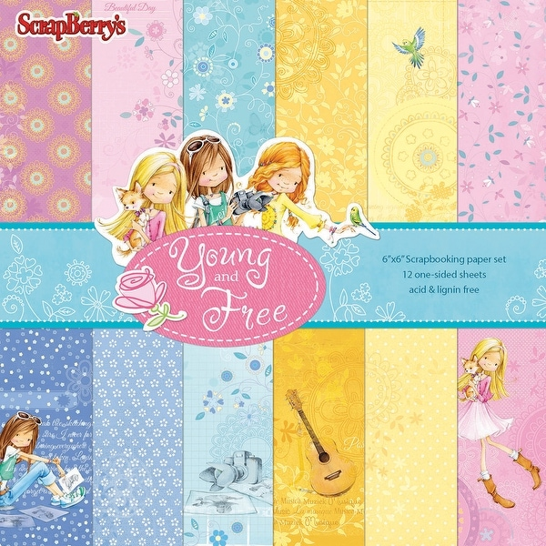 """Scrapberry's Young And Free Paper Pack 6""""X6"""" 12/Pkg-Single-Sided"""