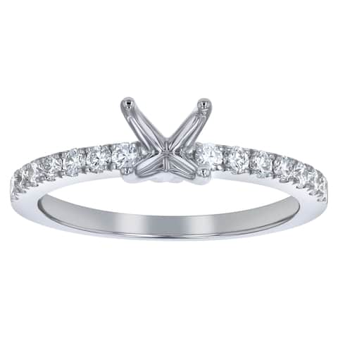 14K White Gold 1/3 ct. Diamonds French Cut Semi Mount Engagement Ring by Beverly Hills Charm