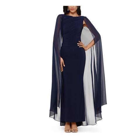 BETSY & ADAM Navy Long Sleeve Maxi Sheath Dress Size 6