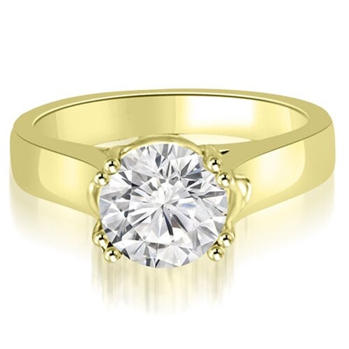 0.75 cttw. 14K Yellow Gold Trellis Solitaire Round Cut Diamond Engagement Ring