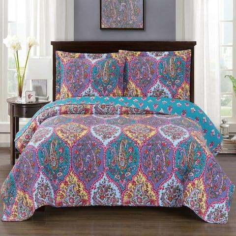 Luxury 3 Pieces Oversized Bedspread Set Reversible Quilt Queen Viola