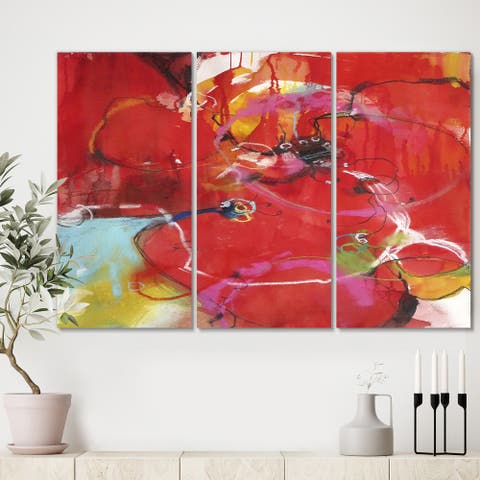 Designart 'Blooming Red' Modern Gallery-wrapped Canvas - 36x28 - 3 Panels