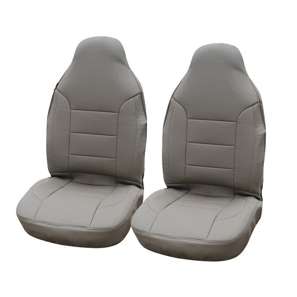 KM WORLD Elegant Premium Leather Car Front Bucket Seat Covers Solid Beige / Tan - KMSC-BG-002 High Back ( 2 PC Set )