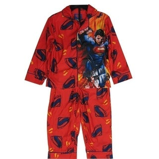 Marvels Little Boys Red Superman Character Logo Print 2 Pc Sleepwear Set 5-7