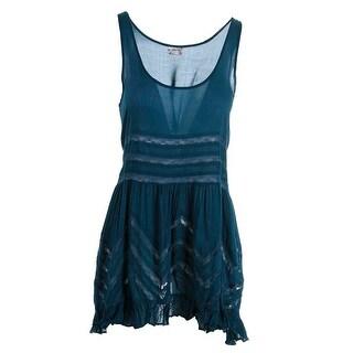 Free People Womens Lace Trim Printed Slip Dress