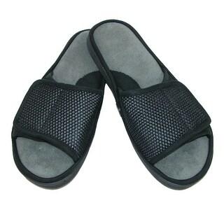 Dearfoams Men's Mesh Pile Adjustable Closure Slide Slipper - magnet grey - SMALL