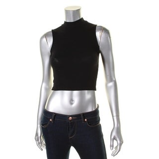 Aqua Womens Crop Top Mock Neck Ribbed