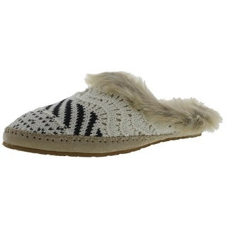 Sanuk Womens Willow Pillow Lx Sweat Knit Faux Fur Trim Scuff Slippers - 10 medium (b,m)
