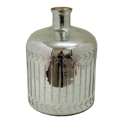 A&B Home Antique Silver Vertical Line Round Vase