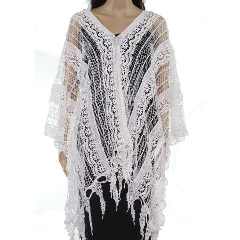 XCVI Womens Coverup Bright White One Size Poncho Fringe Crochet V Neck