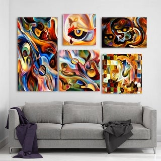 Designart - Abstract Music Collection - Abstract Wall Art set of 5 pieces - Multi-color