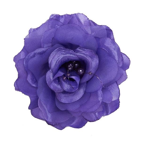 Irish Lass Rose Flower Hair Clip with Bead Details