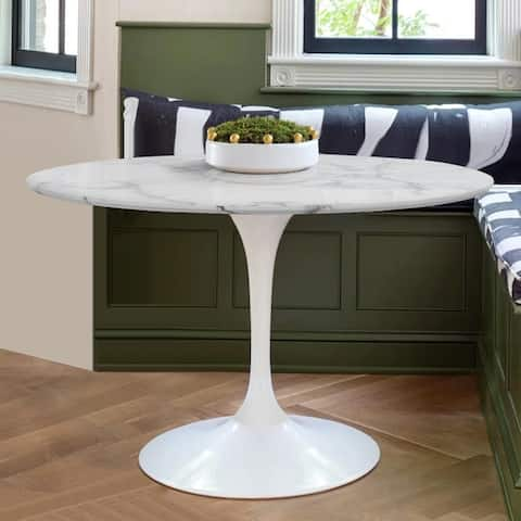 """Round Faux Marble Dining Table - 40""""x40""""x30"""""""