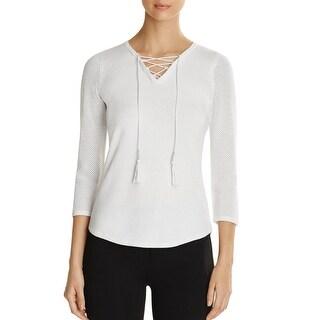 T Tahari Womens Sweater Mesh 3/4 Sleeves