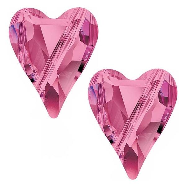 Swarovski Crystal, 5743 Wild Heart Beads 12mm, 2 Pieces, Rose