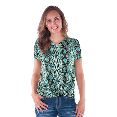 Cowgirl Tuff Western Shirt Womens S/S Snakeskin Print Turq - Turquoise