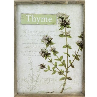 """15.75"""" Decorative Thyme Herb Wood Framed Wall Hanging Plaque"""