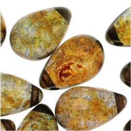 Czech Glass Smooth Teardrop Beads 9x6mm - Luminescent Brown (20)