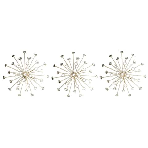 Premius 3 Piece Metal and Jeweled Burst Set Wall Decor, Gold, 10 Inches, 30 Inches Overall - 10 Inches