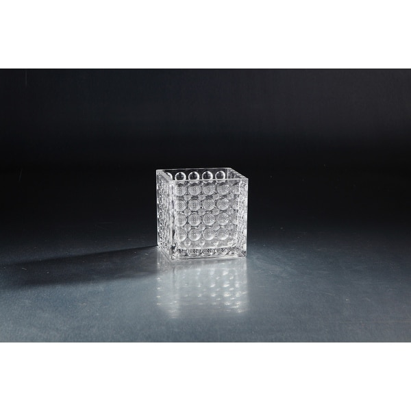 "4.5"" Crystal Clear Square Glass Candle Holder Table Top - N/A"