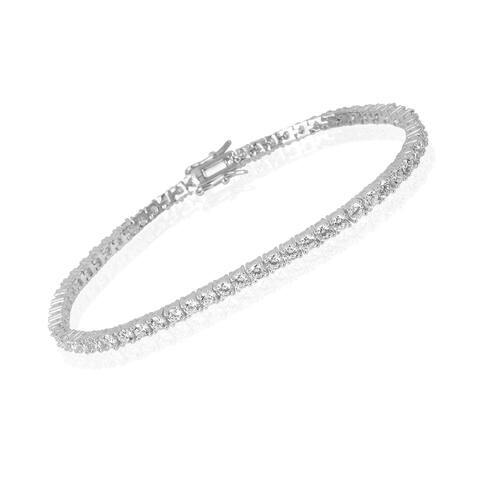 Sterling Silver CZ & 18 K Gold Plated Sterling Silver CZ Tennis Bracelet for Women, Real Silver and High Quality Cubic Zirconia