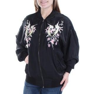 BUFFALO $99 Womens New 1396 Black Embroidered Zip Up Casual Jacket M B+B